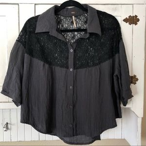 Free People Lace Detail Button Down Tab Sleeve Top